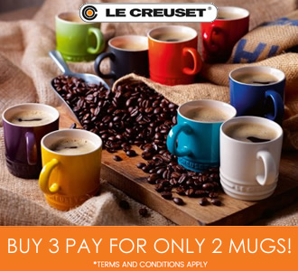 le creuset buy 3 pay for 2 mugs